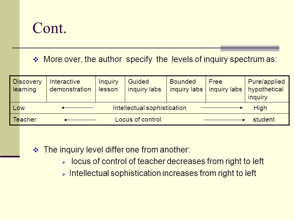Cont. More over, the author specify the levels of inquiry spectrum as: