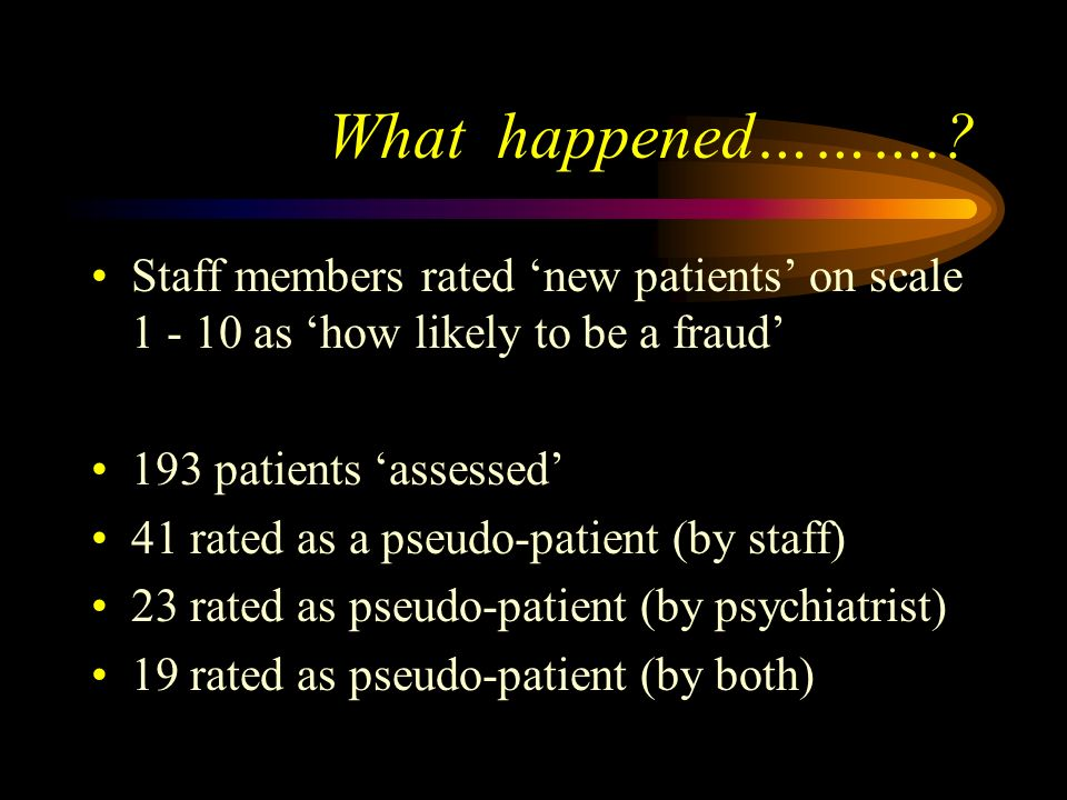 What happened………. Staff members rated 'new patients' on scale 1 - 10 as 'how likely to be a fraud'