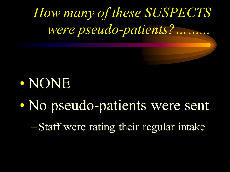 How many of these SUSPECTS were pseudo-patients ……...