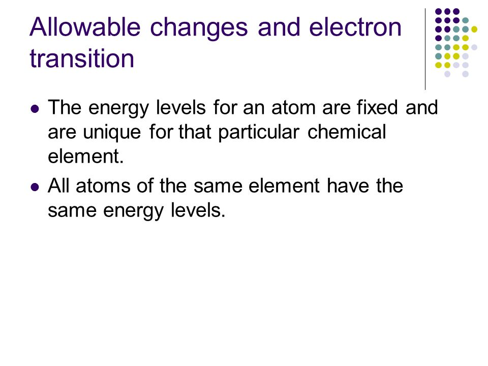 Allowable changes and electron transition