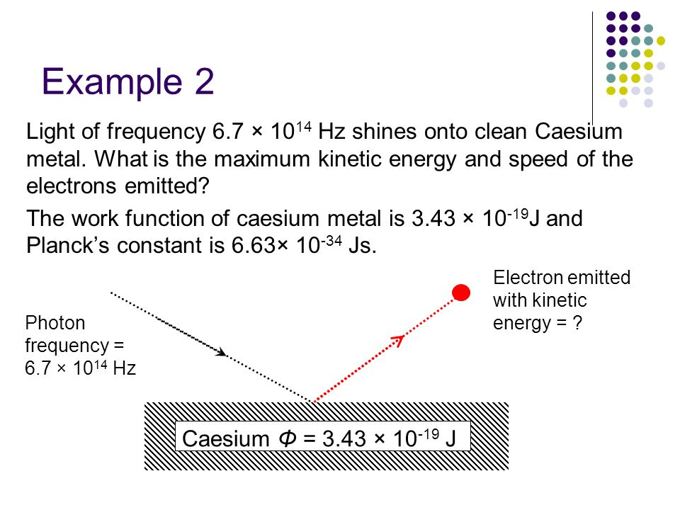Example 2 Light of frequency 6.7 × 1014 Hz shines onto clean Caesium metal. What is the maximum kinetic energy and speed of the electrons emitted