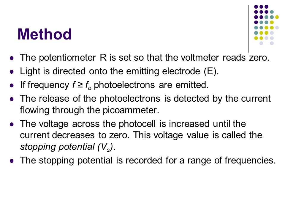 Method The potentiometer R is set so that the voltmeter reads zero.