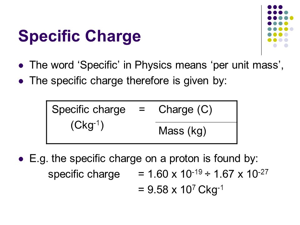 Specific Charge The word 'Specific' in Physics means 'per unit mass',