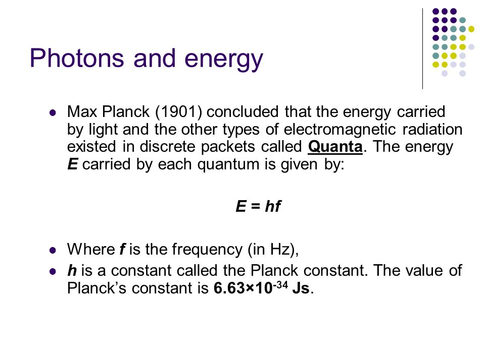 Photons and energy