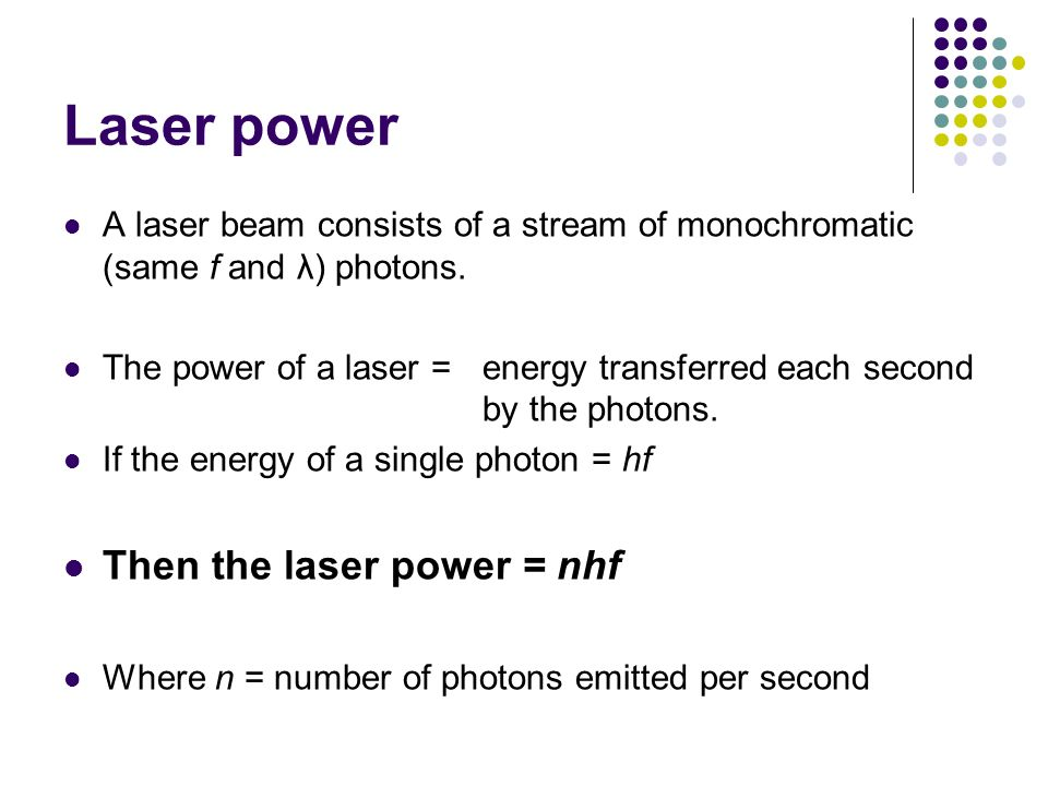 Laser power Then the laser power = nhf