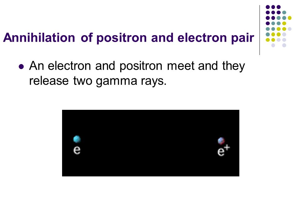 Annihilation of positron and electron pair