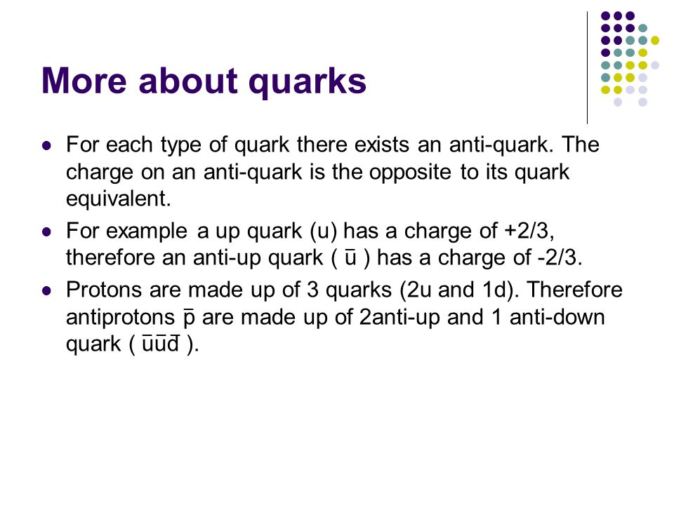 More about quarks For each type of quark there exists an anti-quark. The charge on an anti-quark is the opposite to its quark equivalent.