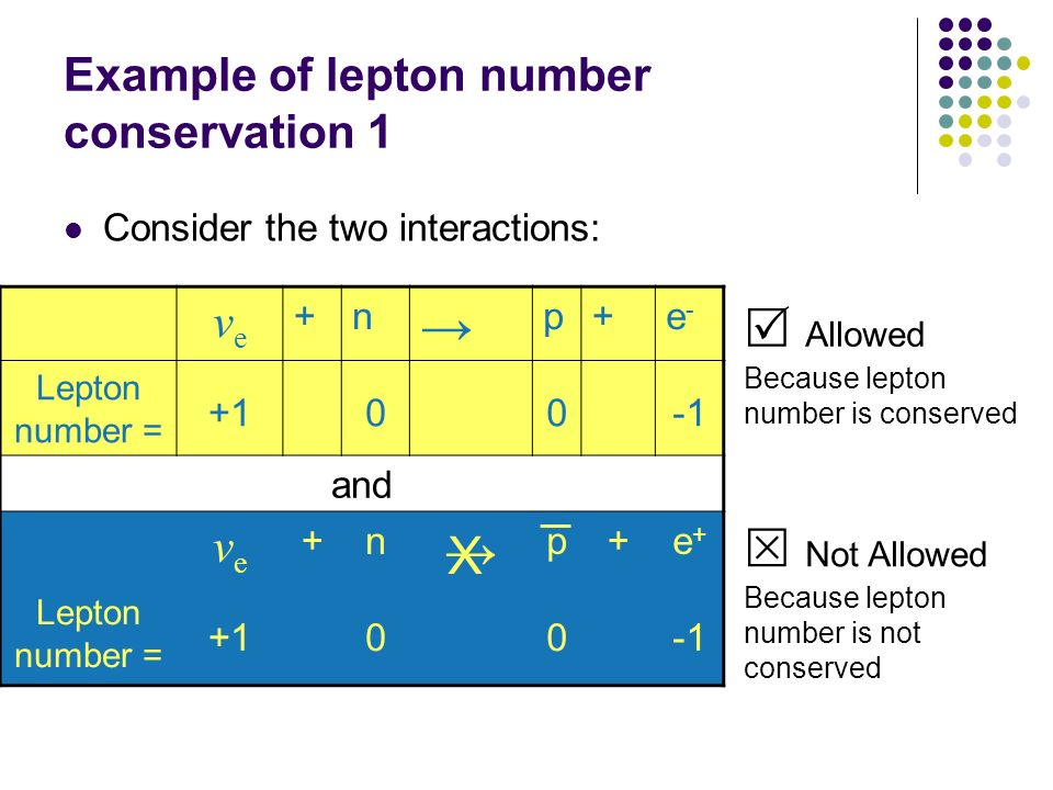 Example of lepton number conservation 1