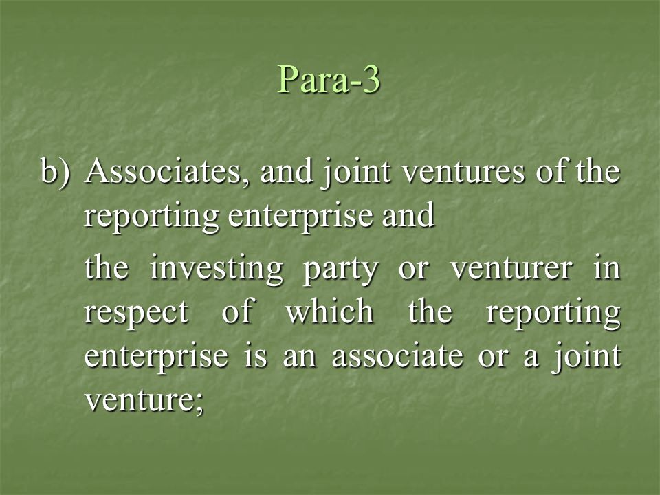 Para-3 Associates, and joint ventures of the reporting enterprise and