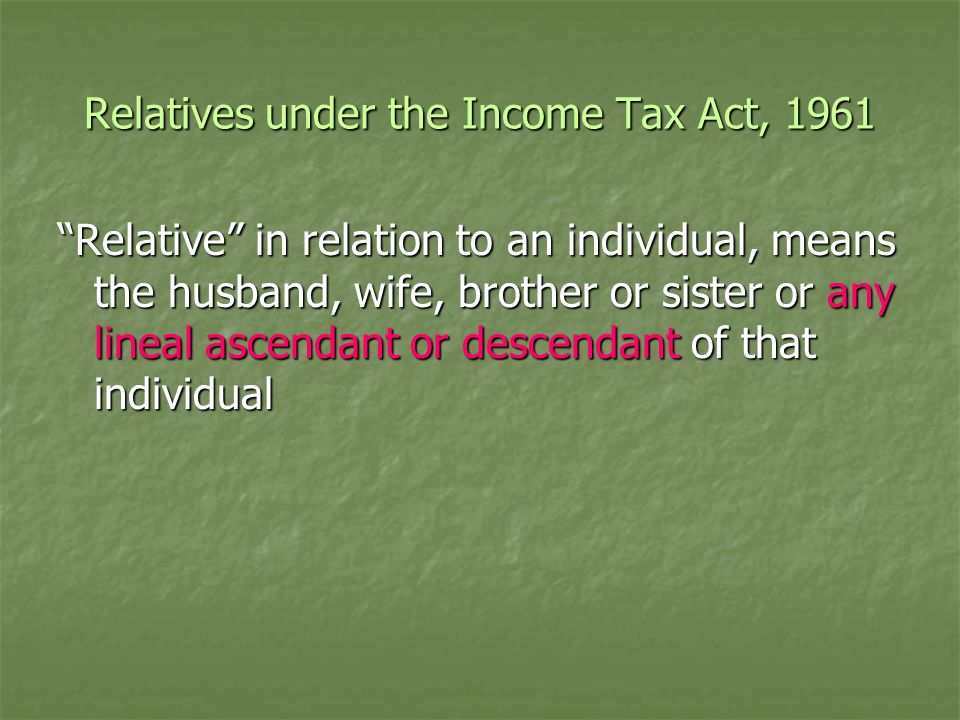 Relatives under the Income Tax Act, 1961