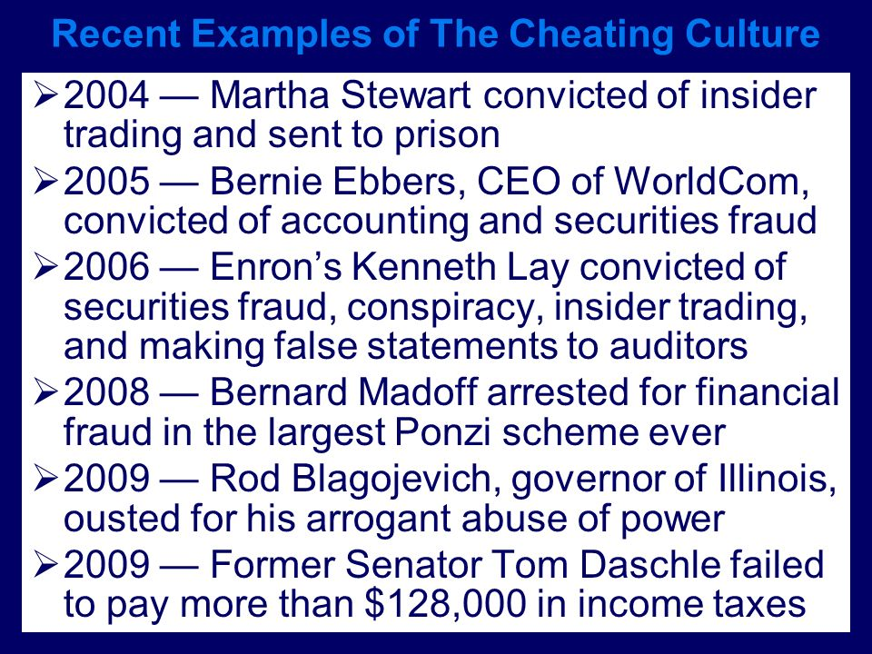 Recent Examples of The Cheating Culture