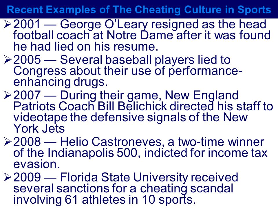 Recent Examples of The Cheating Culture in Sports