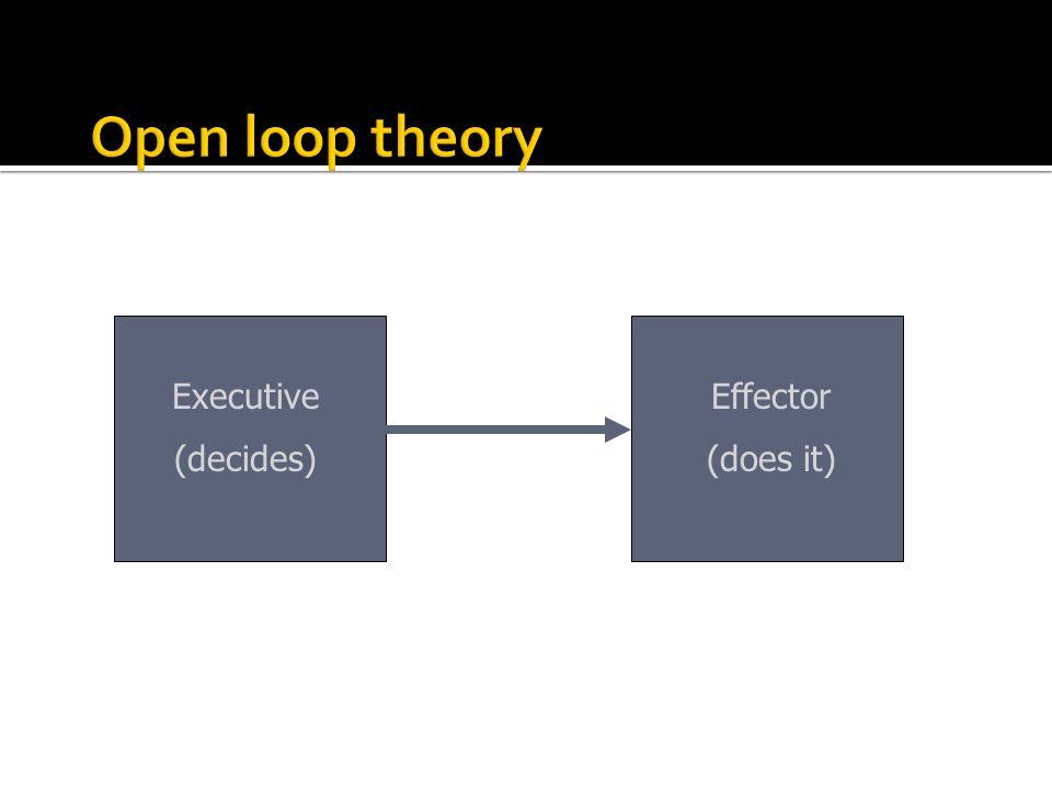Open loop theory Executive (decides) Effector (does it)