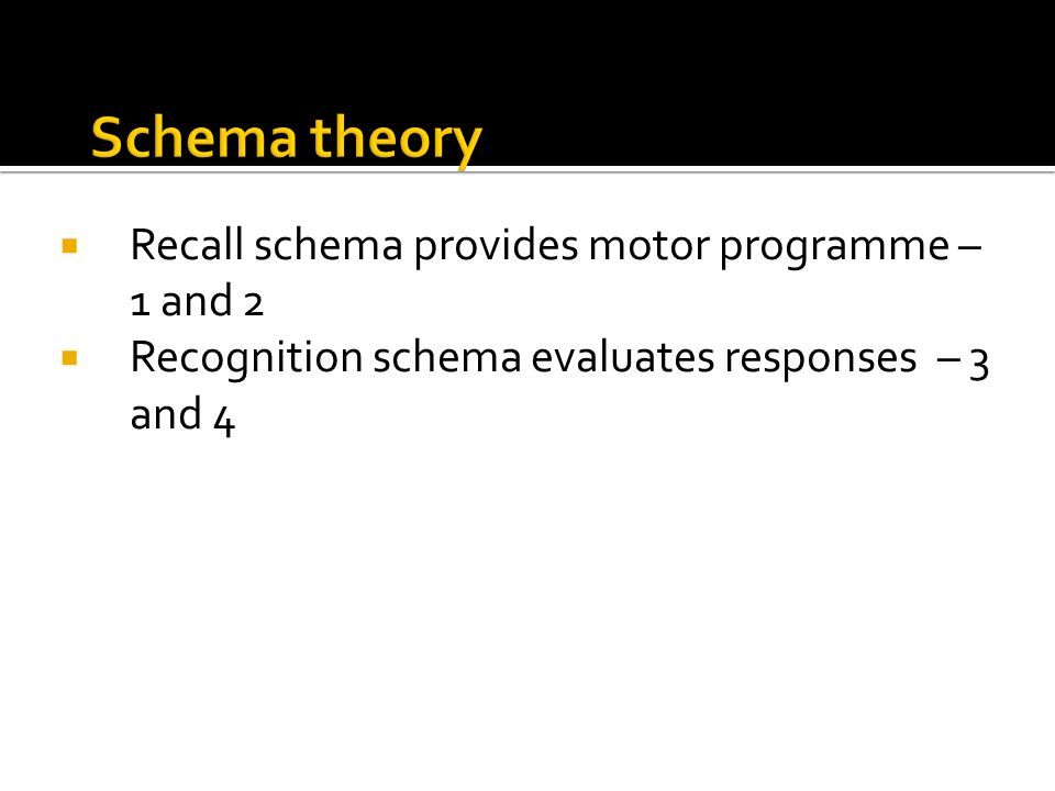 Schema theory Recall schema provides motor programme – 1 and 2