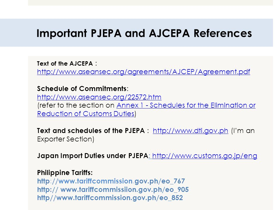 Important PJEPA and AJCEPA References