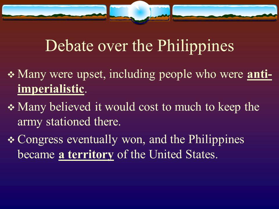 Debate over the Philippines