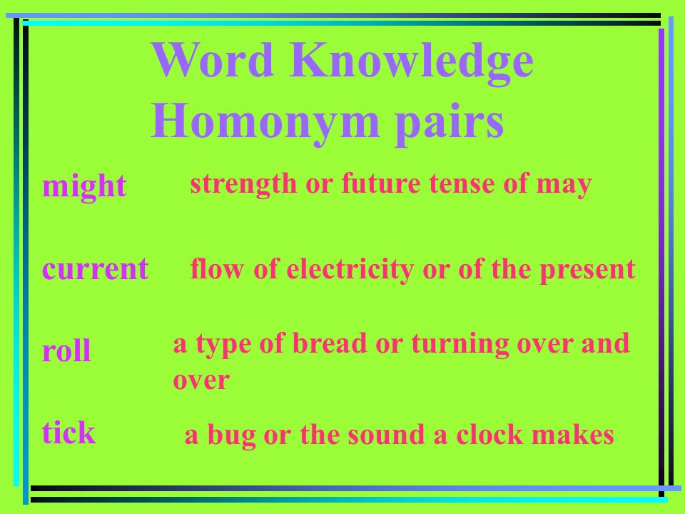 Word Knowledge Homonym pairs might current roll tick