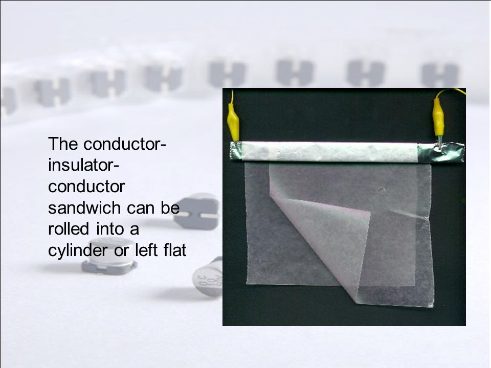 The conductor-insulator-conductor sandwich can be rolled into a cylinder or left flat