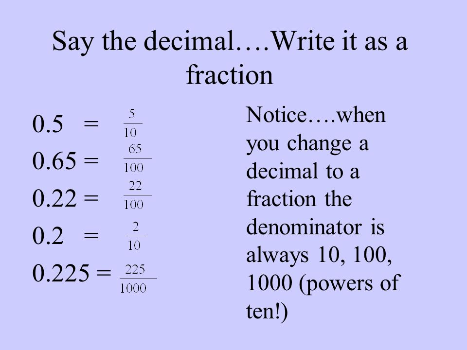 Say the decimal….Write it as a fraction