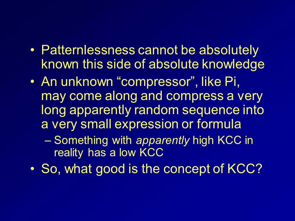 So, what good is the concept of KCC