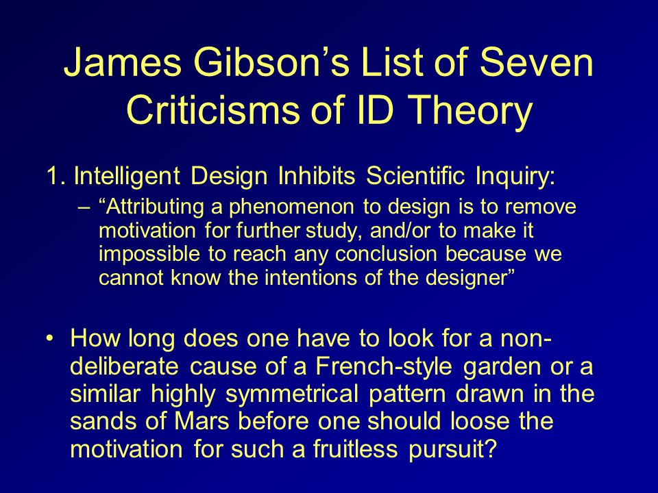James Gibson's List of Seven Criticisms of ID Theory