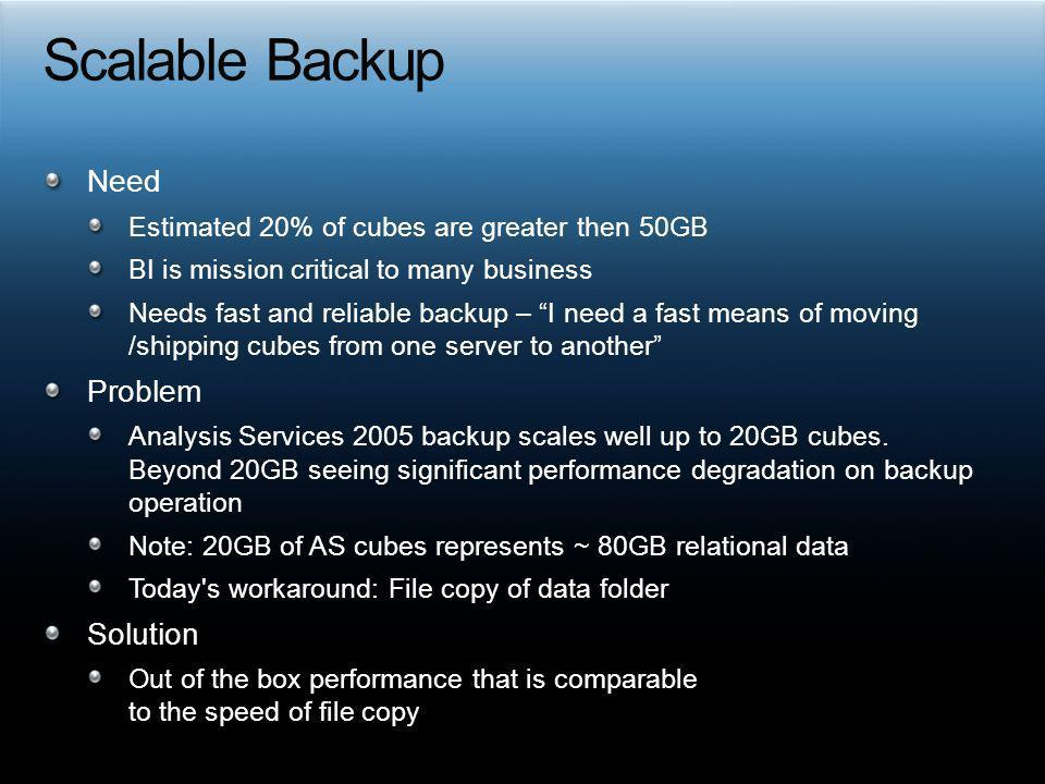 Scalable Backup Need Problem Solution
