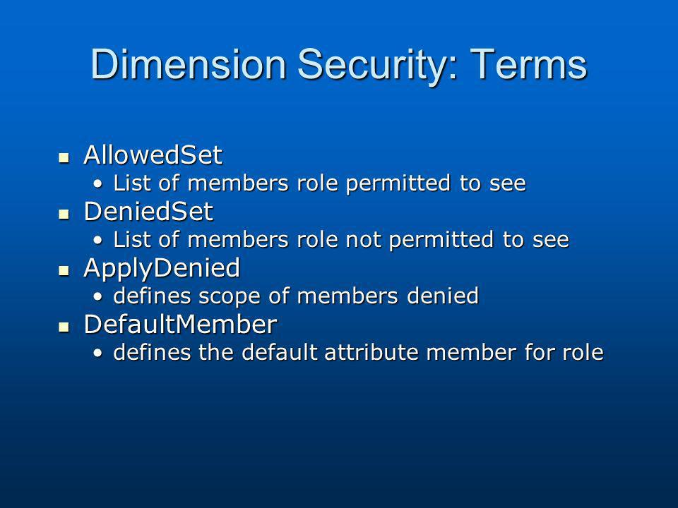 Dimension Security: Terms