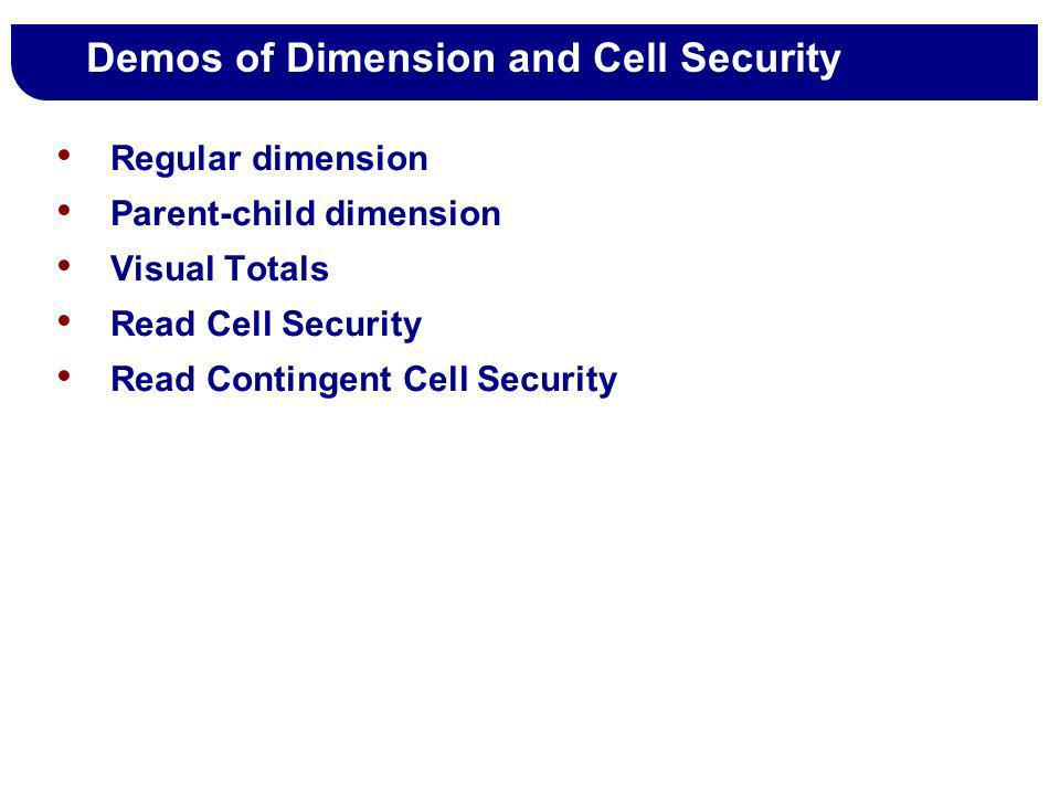 Demos of Dimension and Cell Security