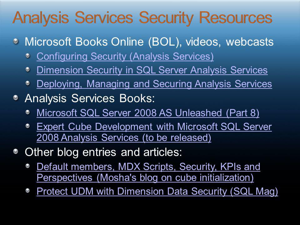Analysis Services Security Resources