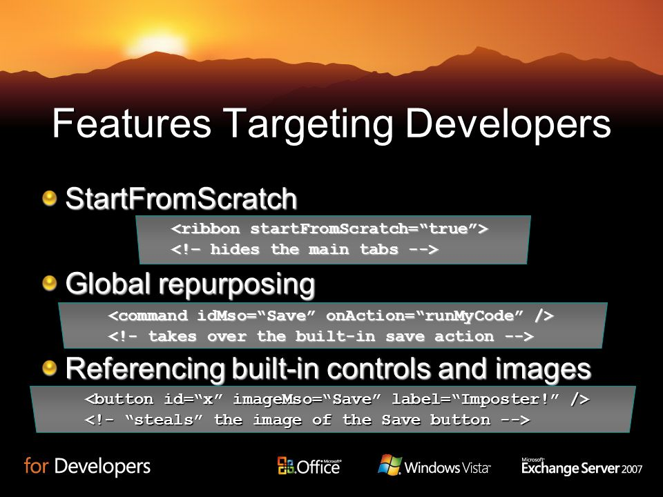 Features Targeting Developers