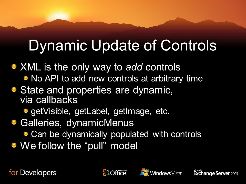 Dynamic Update of Controls