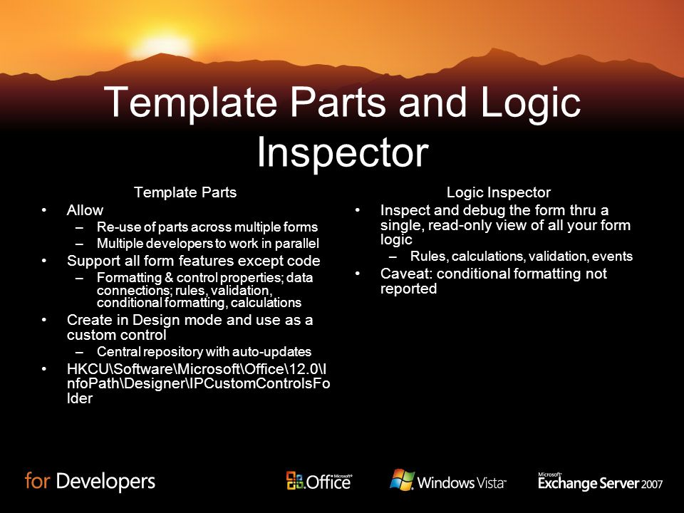 Template Parts and Logic Inspector