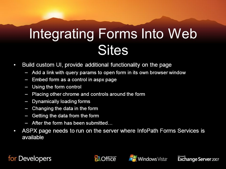 Integrating Forms Into Web Sites