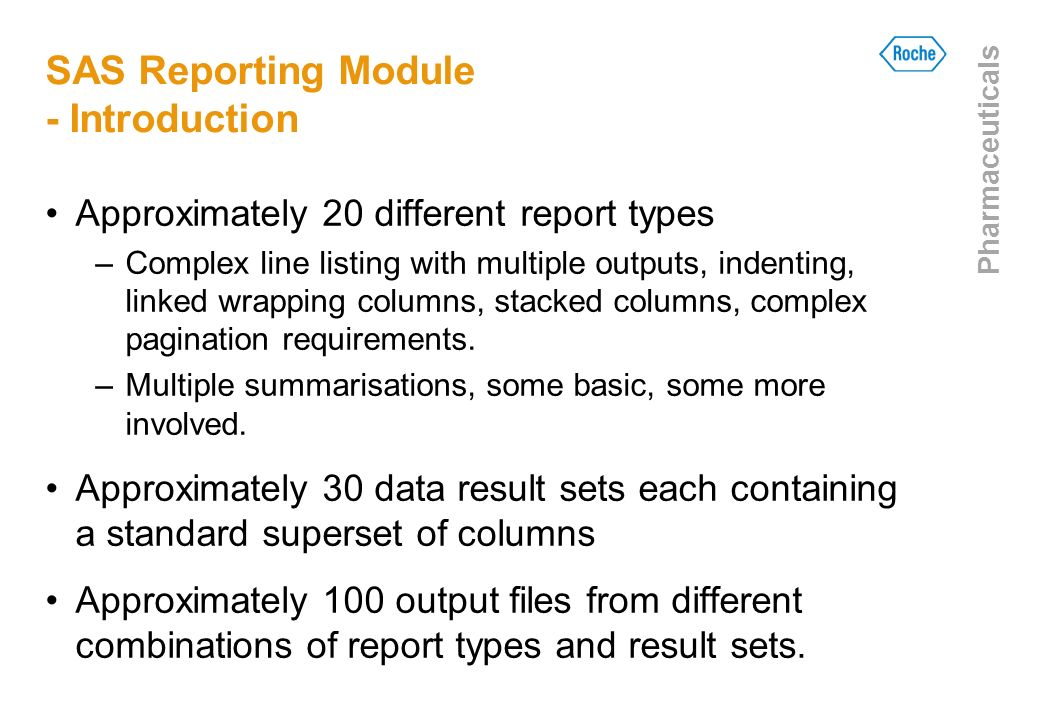 SAS Reporting Module - Introduction
