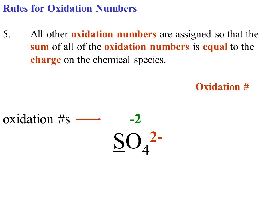 Oxidation # oxidation #s -2 SO42- Rules for Oxidation Numbers