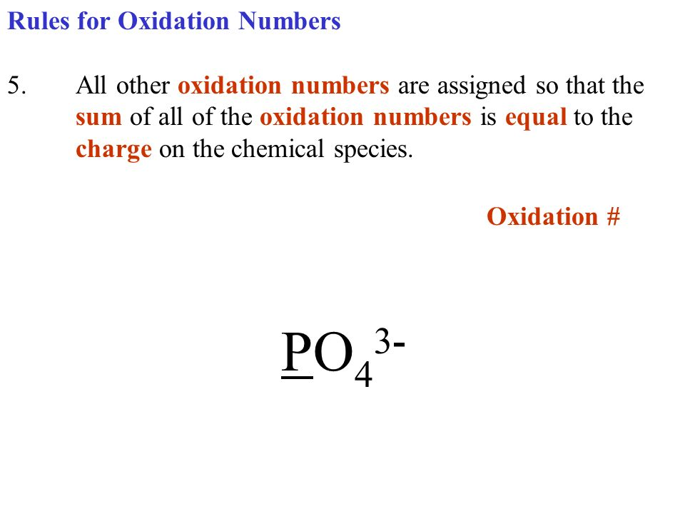 Oxidation # PO43- Rules for Oxidation Numbers