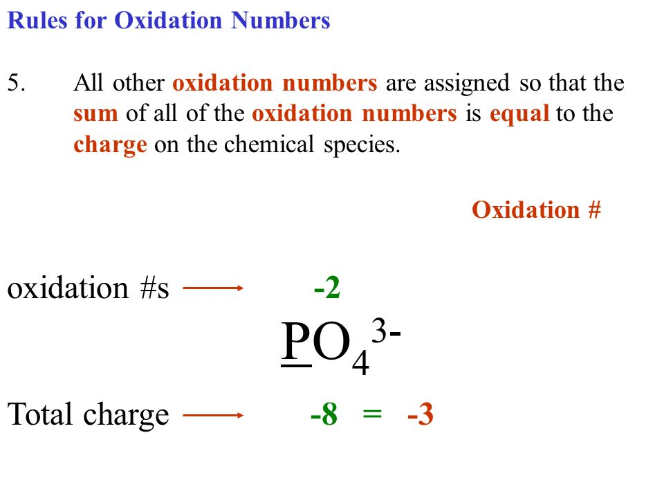 Oxidation # oxidation #s -2 PO43- Total charge -8 = -3