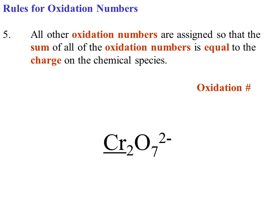 Oxidation # Cr2O72- Rules for Oxidation Numbers