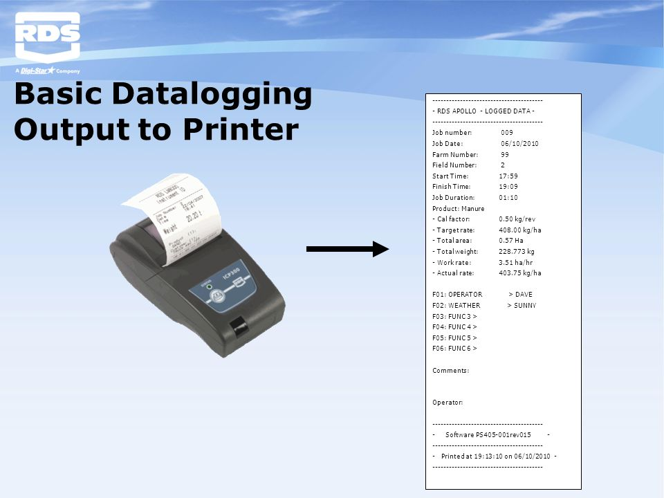 Basic Datalogging Output to Printer