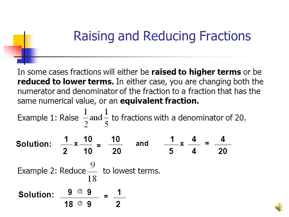 Raising And Reducing Fractions