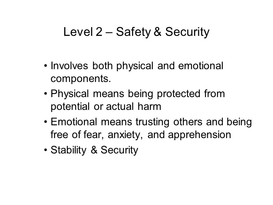 Level 2 – Safety & Security