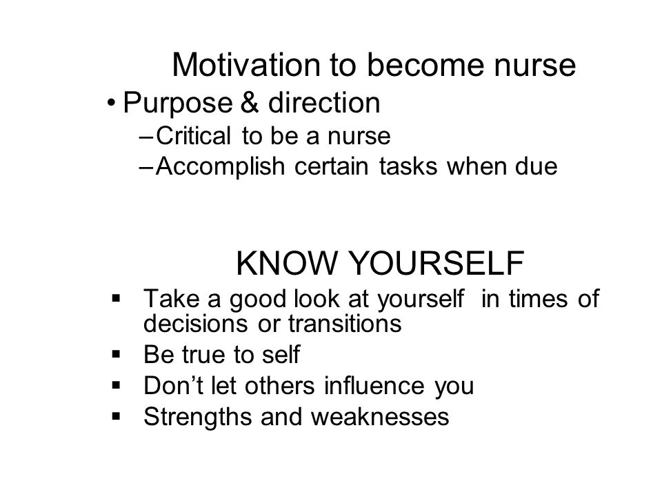 Motivation to become nurse
