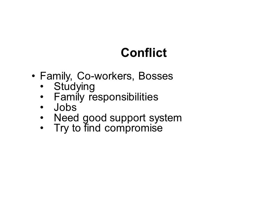 Conflict Family, Co-workers, Bosses Studying Family responsibilities