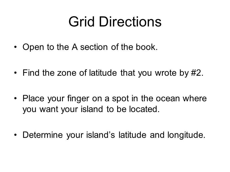 Grid Directions Open to the A section of the book.