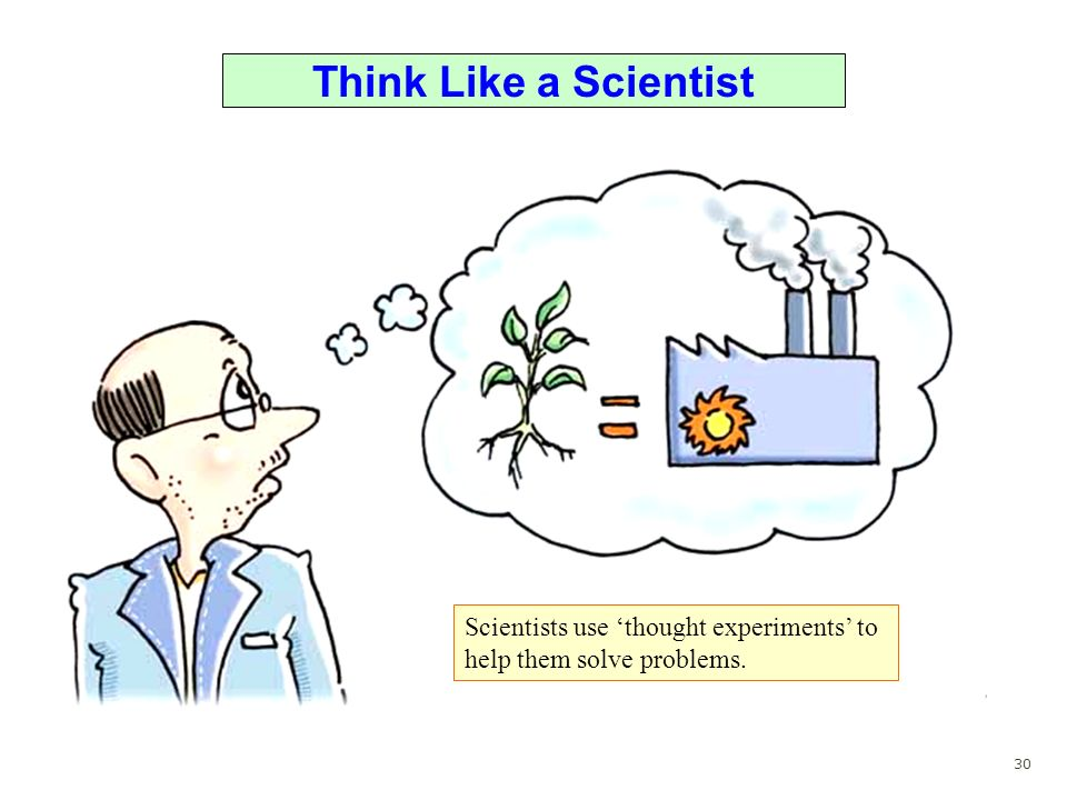Think Like a Scientist Scientists use 'thought experiments' to help them solve problems. 30