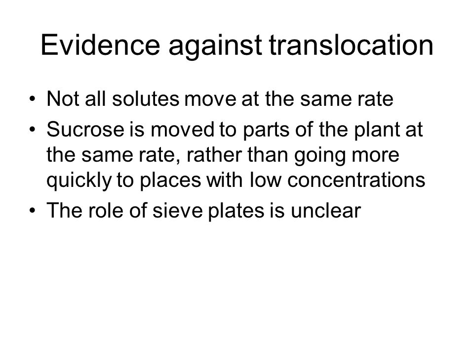 Evidence against translocation