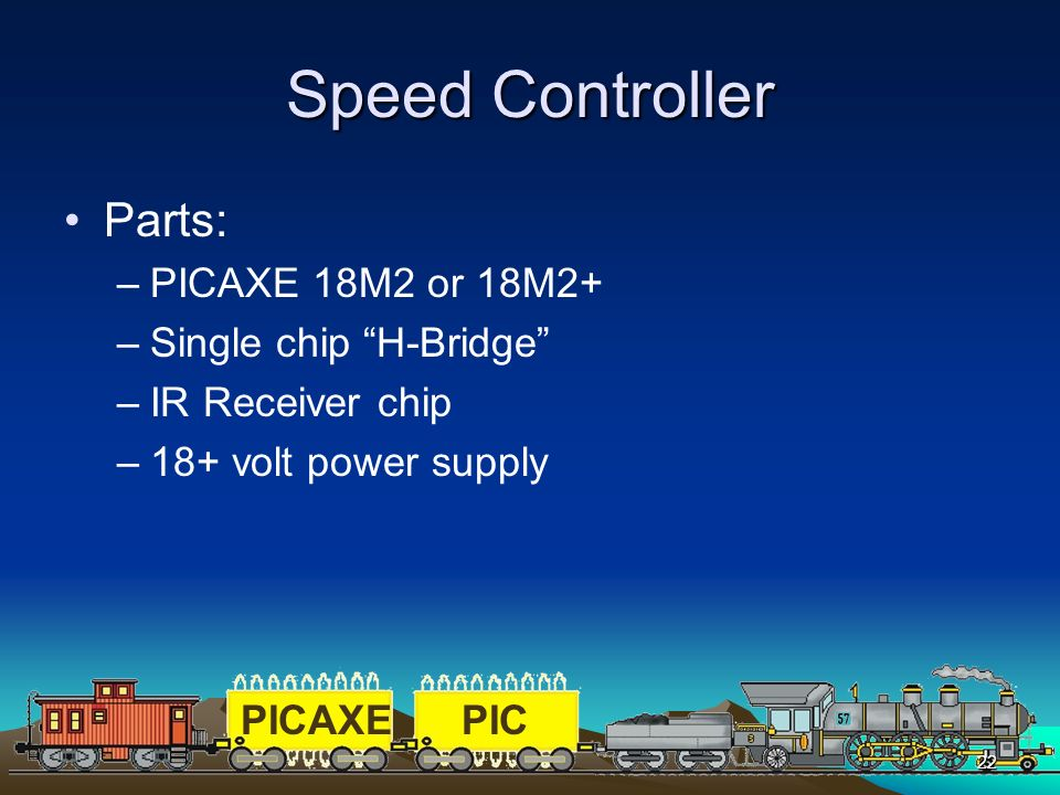 Speed Controller Parts: PICAXE 18M2 or 18M2+ Single chip H-Bridge