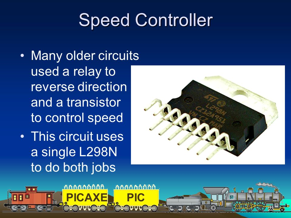 Speed Controller Many older circuits used a relay to reverse direction and a transistor to control speed.