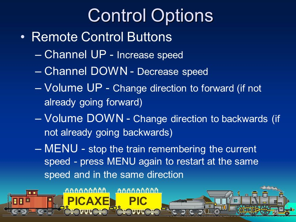 Control Options Remote Control Buttons Channel UP - Increase speed