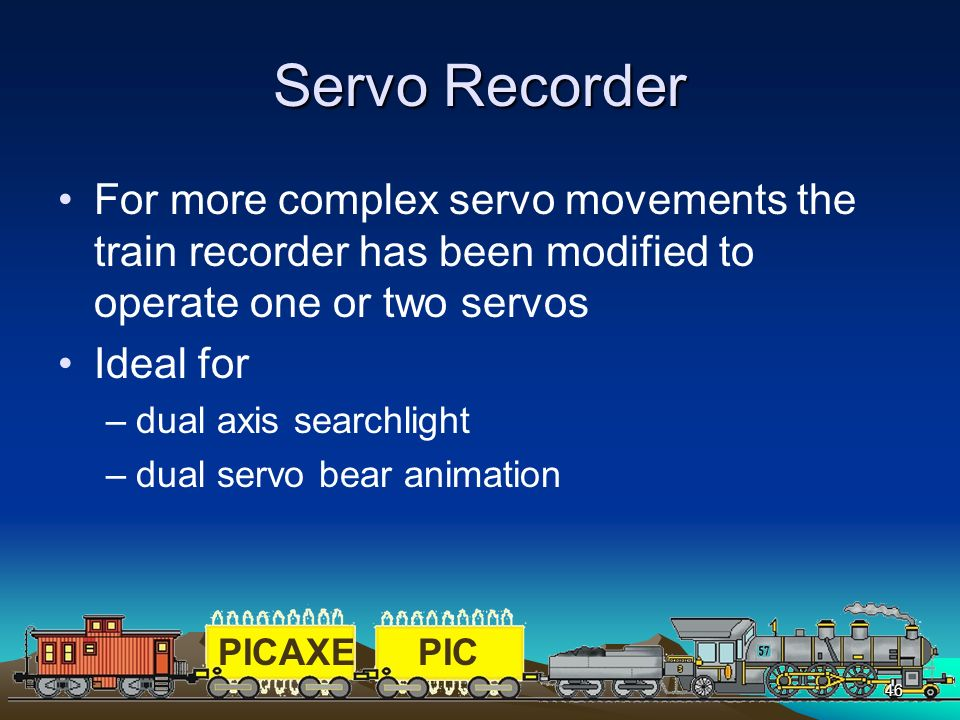 Servo Recorder For more complex servo movements the train recorder has been modified to operate one or two servos.
